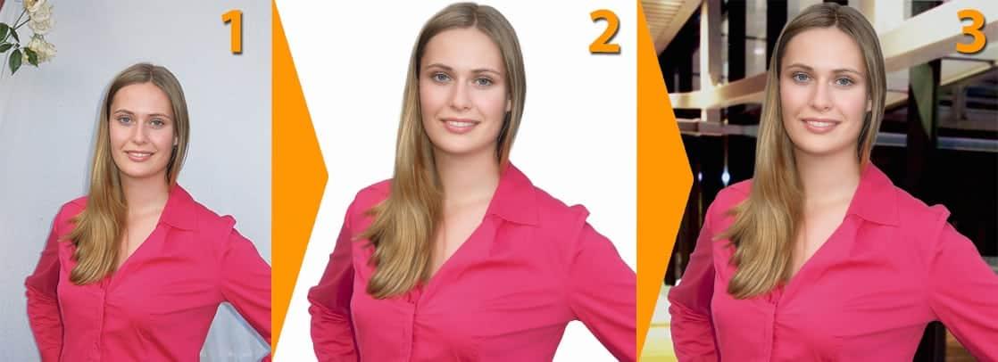 Bewerbungsfoto in 3 Schritten selbst gemacht: 1. Foto schiessen, 2. Bild freistellen + sehr dezente Gesichtsretusche, 3. Hintergrund passend zu Branche wählen und farblich harmonisieren.