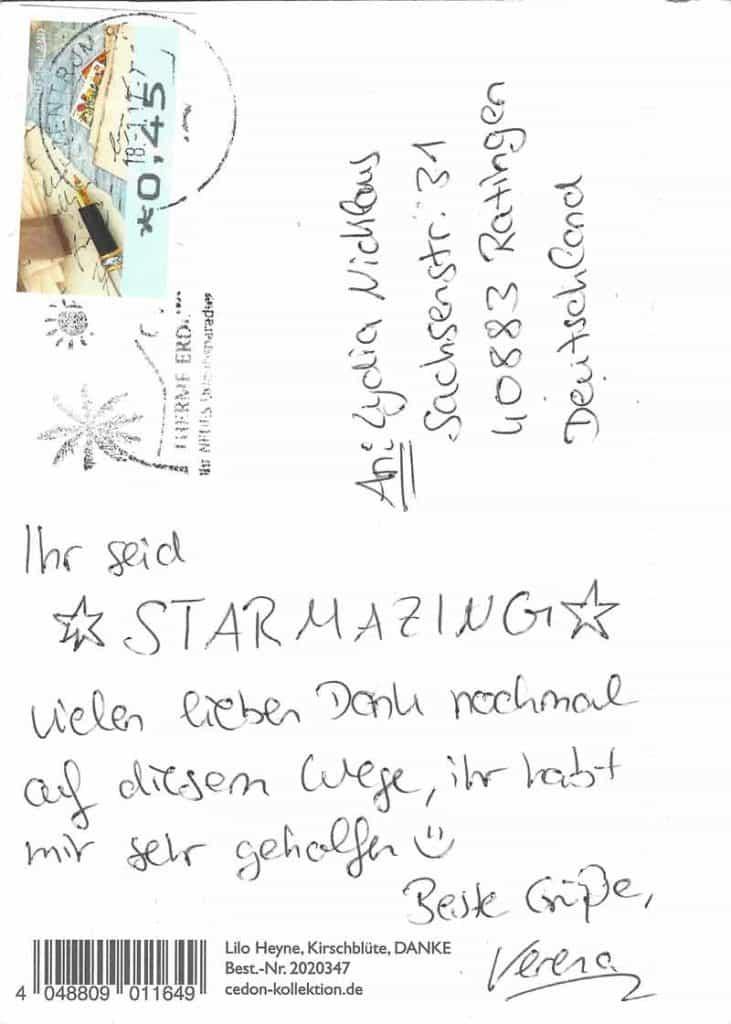 Die neuste STARMAZING-Bewertung kam per Postkarte :-) Wir freuen uns immer wieder zu hören, die Erwartungen übertroffen zu haben. Noch mehr Kundenstimmen: https://www.starmazing.de/kundenstimmen und auf Google: https://www.google.de/#q=starmazing