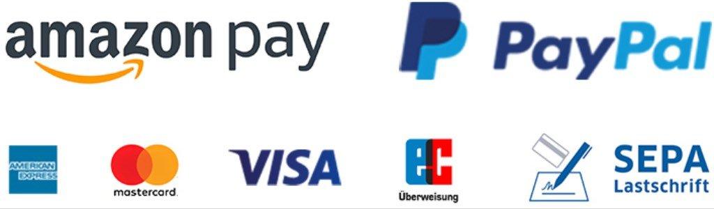 Unser Shop akzeptiert Zahlung mit: PayPal, AmericanExpress (AMEX), MasterCard, VISA, Maestro Karten, JCB, DinersClub, SOFORT Überweisung. Sichere Zahlungsabwicklung über Wirecard.
