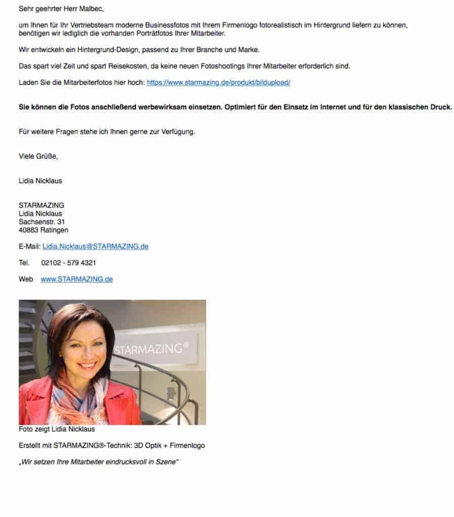 Mitarbeiterfotos in E-Mails an Kunden wirken deutlich persönlicher, wenn der Absender in der Fußnote mit seinem Foto zu sehen ist. Das erhöht die Kundenbindung mit jeder E-Mail.