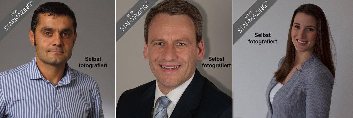 Die hier gezeigten Businessfotos wirken heutzutage gerade mal durchschnittlich auf Personalentscheider, Kollegen und Kunden. Alle 3 Fotos eignen sich hervorragend für eine Karrierefoto-Aufbereitung mit STARMAZING-Technik, um anschließend in jeder Hinsicht zu beeindrucken.