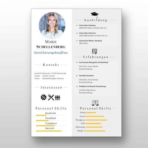 """Die """"Express"""" Lebenslauf Vorlage vermittelt mit wenigen Worten alle relevanten Kenntnisse und Erfahrungen. Die Vorlage ist dabei sehr übersichtlich und eignet sich bestens für Karriereeinsteiger, die noch nicht über langjährige Berufserfahrung verfügen. #Lebenslauf #CV #Bewerbung"""