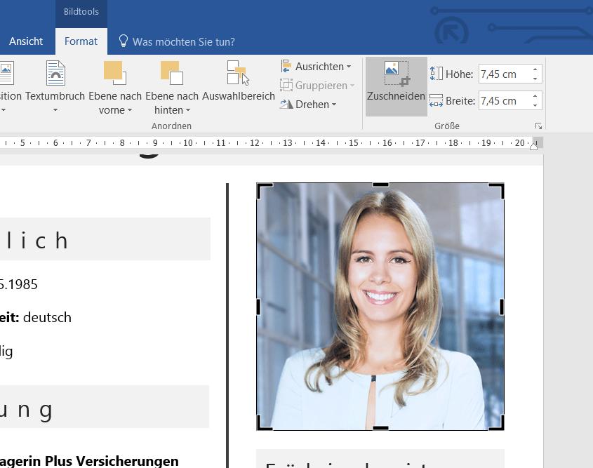 Ihr Porträtfoto ganz einfach quadratisch zuschneiden. So können Sie jedes Foto quadratisch zuschneiden mit Microsoft Word. Diese Schritt für Schritt Anleitung zeigt wie es gelingt.