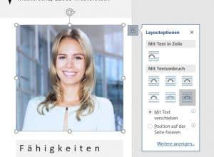 Foto in Word vor den Text verschieben. Im nächsten Schritt kann man das Foto rund ausschneiden.