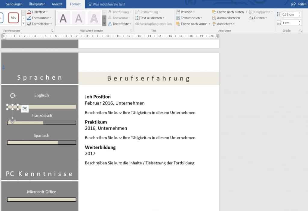 Balken In Word Anpassen Länge Horizontal Und Vertikal Anpassen