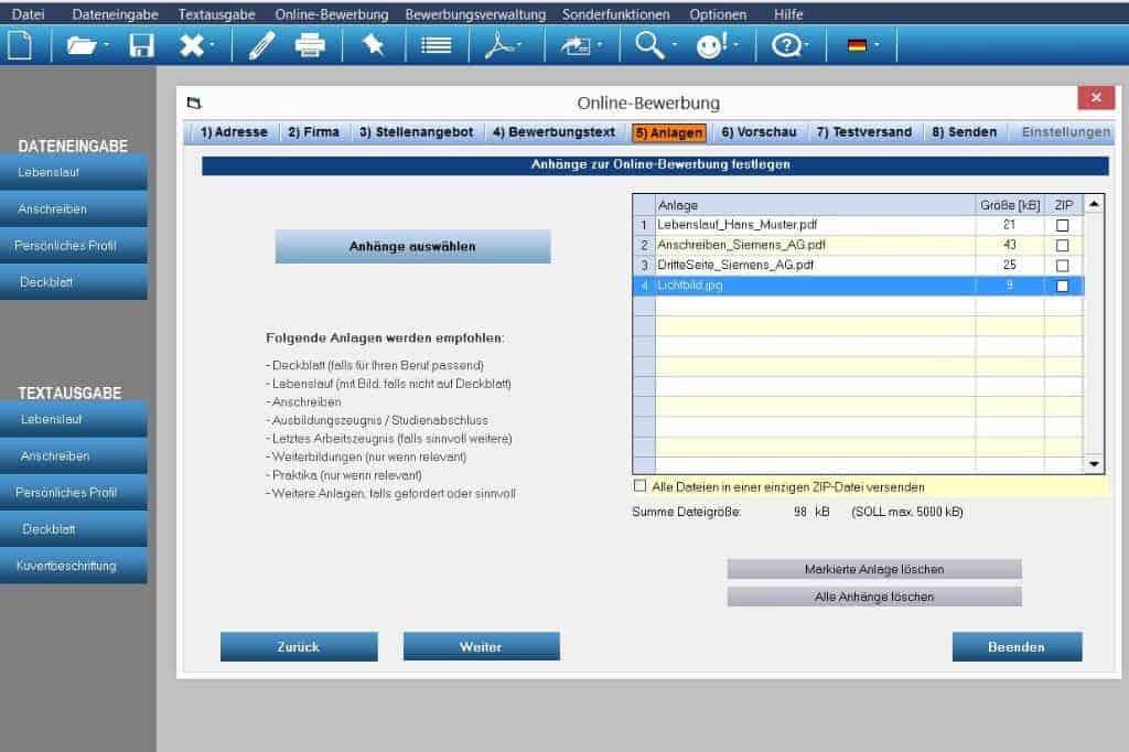 Die Bewerbungssoftware erstellt individuelle Bewerbungsunterlagen inkl. Bewerbungsschreiben + CV Lebenslauf + Profil + Deckblatt. Mit Unterstützung zur komfortablen Onlinebewerbung per Mail.