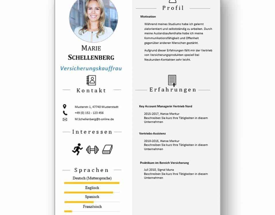 """Lebenslauf mit Icons als Download: Die Bewerbungsvorlage """"Attention Express"""" vermittelt mit wenigen Worten alle relevanten Kenntnisse und Erfahrungen. Die grafischen Icons erleichtern Personalern die Sichtung und beschleunigen so die Inhaltsvermittlung. Lebenslauf, CV, Bewerbungsvorlage für die moderne Bewerbung als Download."""