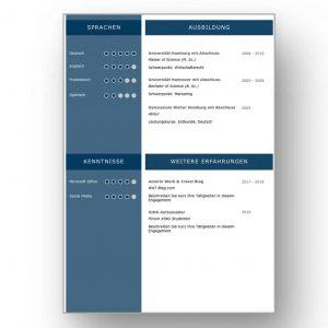 Ein gelungenes CV Beispiel für eine moderne Bewerbung über 4 Seiten. Das Lebenslauf Design ist klar strukturiert und signalisiert, dass der Bewerber mit modernen Medien absolut vertraut ist. Die komplette Bewerbungsvorlage als Download für MAC und WINDOWS auf STARMAZING.de. Lebenslauf, CV, Bewerbungsvorlage für die moderne Bewerbung als Download.