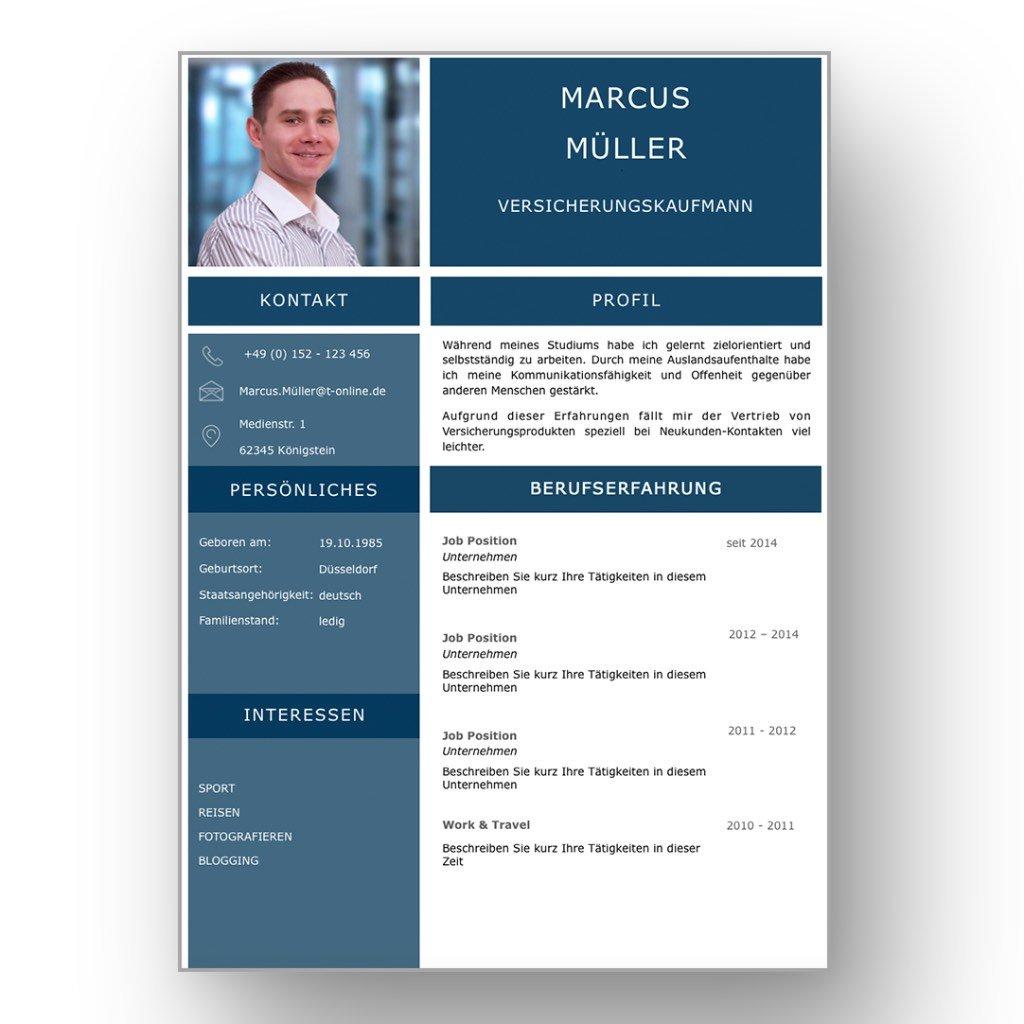4 Seiten Bewerbungsvorlage Saphire Candidate Image
