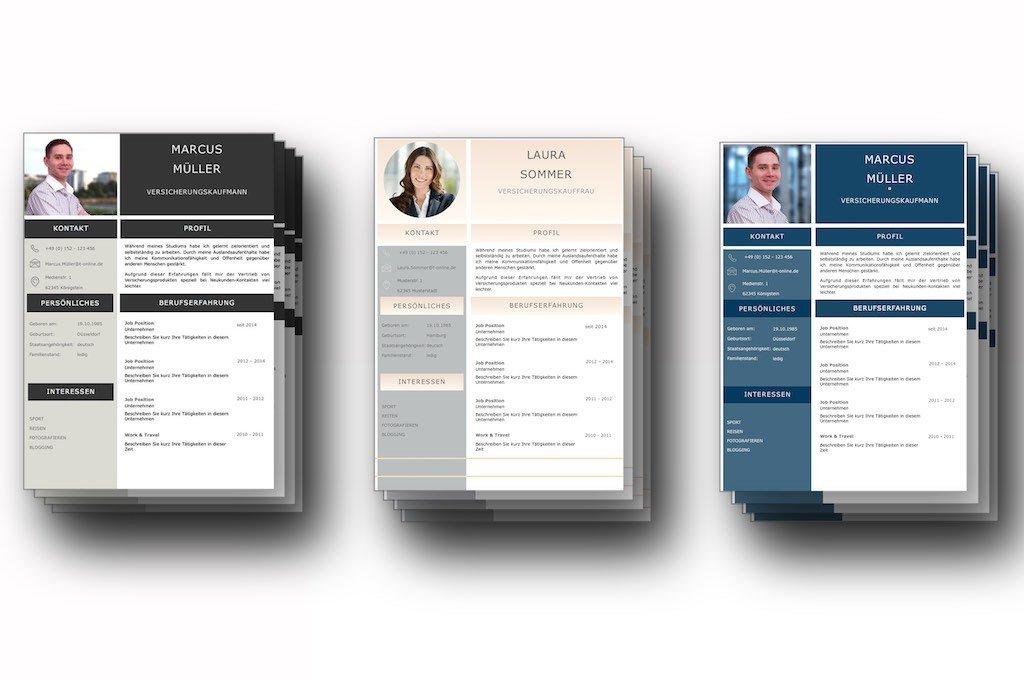 3 Premium Bewerbungs-Vorlagen als Komplett-Set Image