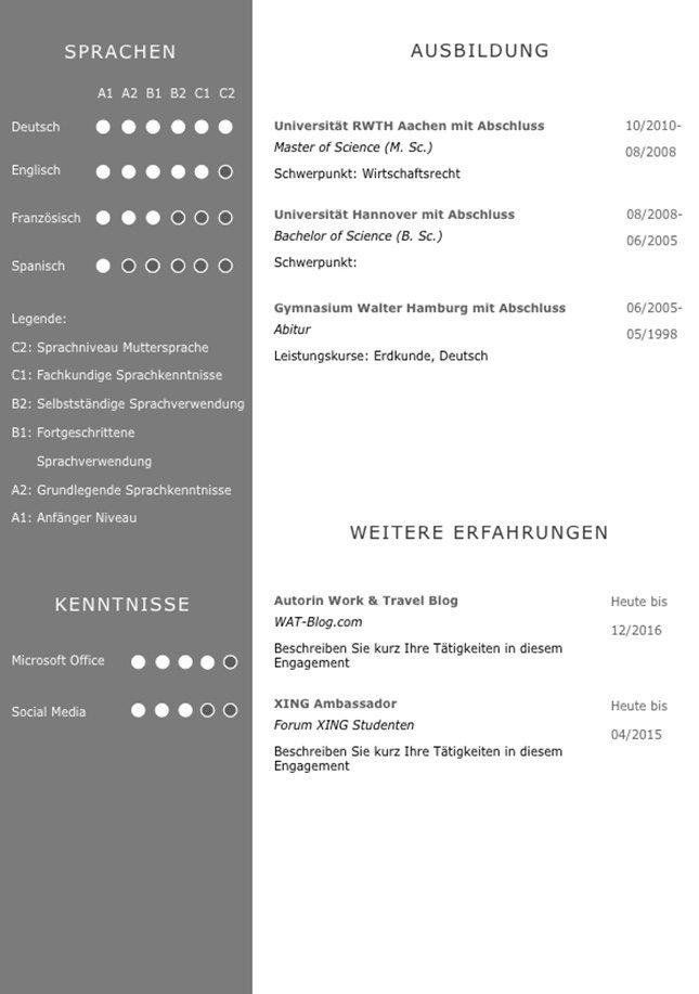 CV Lebenslaufvorlage für viel Berufserfahrung. Highlights: + 6 Seiten + unterstützt Europäischen Referenzrahmen für Sprachen (GER) + STARMAZING®-Easy-Edit-Architektur (spart viel Zeit beim Bearbeiten mit Word) + Eindrucksvolle Farben optimiert für Export als PDF und für Ausdrucke + Als deutsche Bewerbungsvorlage, EU und Schweizer Lebenslauf einsetzbar. Download für Windows Word und MacOS Pages in DIN A4.