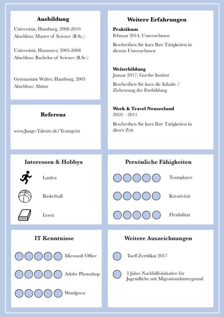 Idealer CV um wenig Berufserfahrung viel aussehen zu lassen. DIN A4 CV in deutsch: als Download mit Bewerbungs-Deckblatt, Bewerbungsanschreiben, Lebenslauf inkl. Folgeseite für viel Berufserfahrung. Modernes Design in Kacheloptik beeindruckt kompetent als perfekter Bewerber. Lebenslauf, CV, Bewerbungsvorlage für die moderne Bewerbung in Word und Pages.