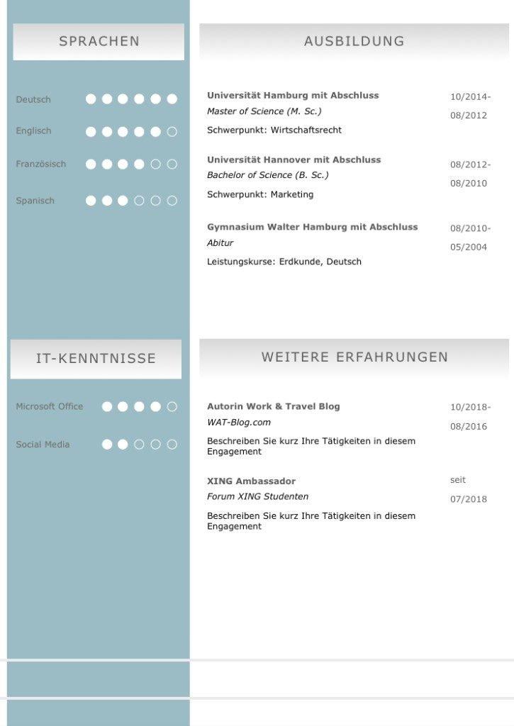 Gelungener Bildungswerdegang: Diese Bewerbungsvorlage ist modern strukturiert und signalisiert: Wer sich so präsentiert, verkauft auch sein künftiges Unternehmen erstklassig. Das sehen Personaler sofort. 5 Seiten als Download für Word und Pages. Enthält ein Deckblatt, Bewerbungsanschreiben, Lebenslauf mit Profil, CV Folgeseite, Ausbildung + weitere Erfahrung. Optimiert für Ausdruck und PDF-Export.