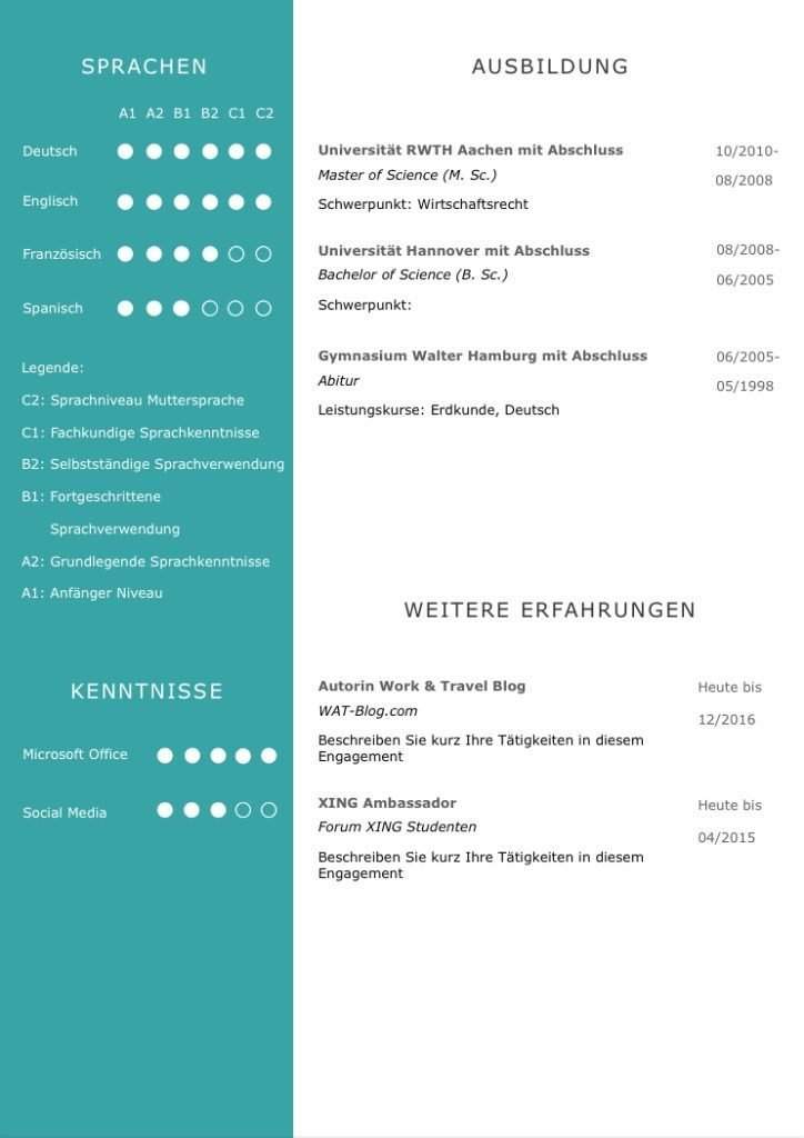 CV in Modern Mint: Ideal für Bewerbungen bei Umwelt verbundenen Unternehmen. Eine Lebenslaufvorlage für viel Berufserfahrung. Highlights: + 6 Seiten + unterstützt Europäischen Referenzrahmen für Sprachen (GER) + STARMAZING®-Easy-Edit-Architektur (spart viel Zeit beim Bearbeiten mit Word) + Eindrucksvolle Farben optimiert für Export als PDF und für Ausdrucke + Als deutsche Bewerbungsvorlage, EU und Schweizer Lebenslauf einsetzbar. Download für Windows Word und MacOS Pages.