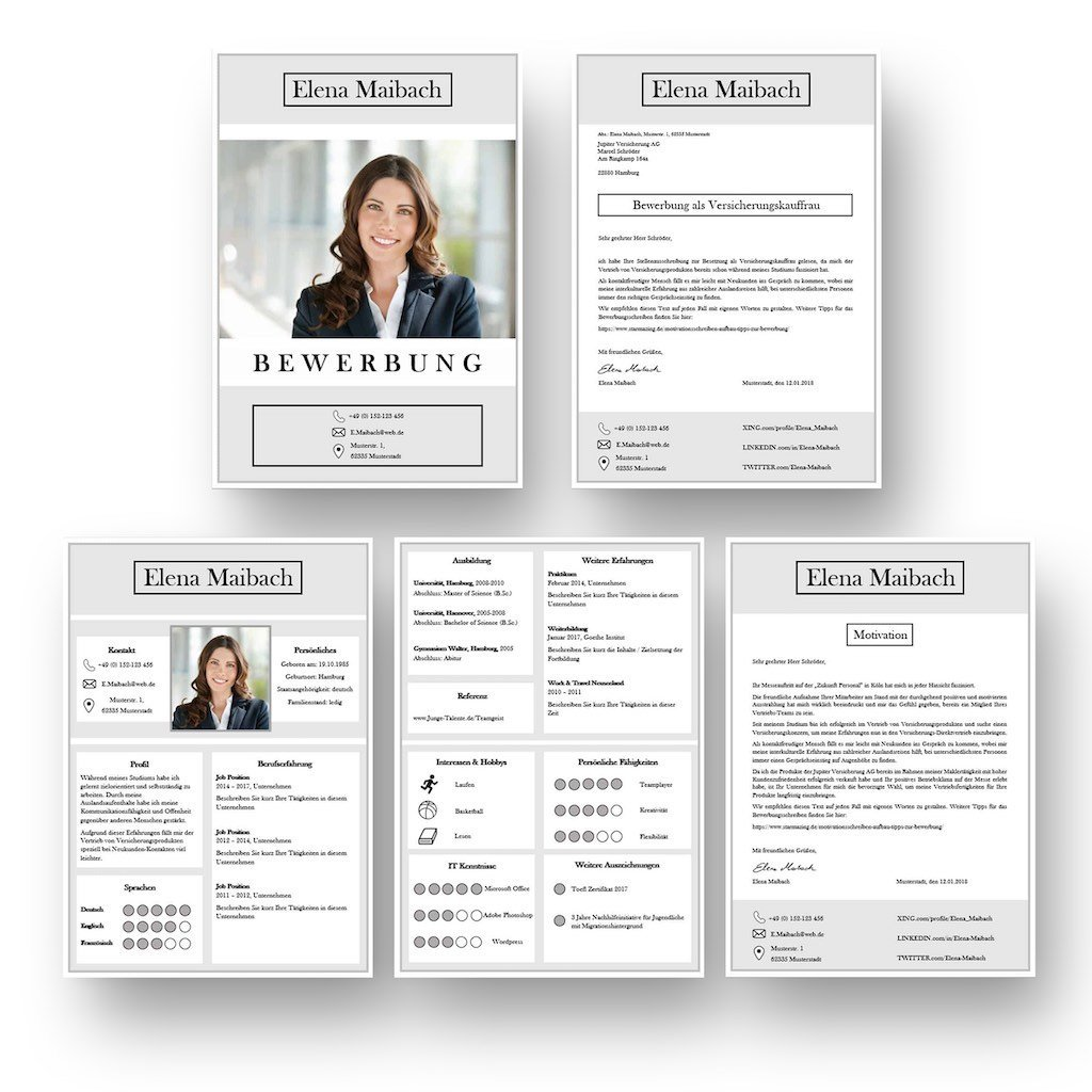 Bewerbung mit Icons in Kacheloptik: So lassen sich Informationen sehr schnell erfassen: Diese Bewerbungsvorlage ist modern strukturiert und signalisiert: Wer sich so präsentiert, verkauft auch sein künftiges Unternehmen erstklassig. Das sehen Personaler sofort. 4 Seiten als Download für Word und Pages. Enthält ein Deckblatt, Bewerbungsanschreiben, Lebenslauf mit Profil, CV Folgeseite, Ausbildung + weitere Erfahrung. Optimiert für Ausdruck und PDF-Export.