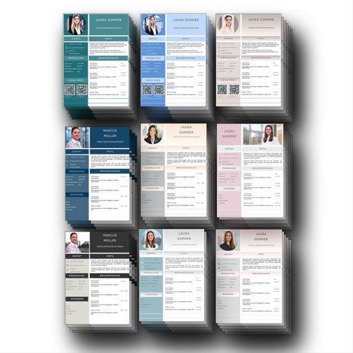 Gelungen: Lebenslauf CV Design in beliebten Trendfarben: Perfekt für das Bewerbungsfoto