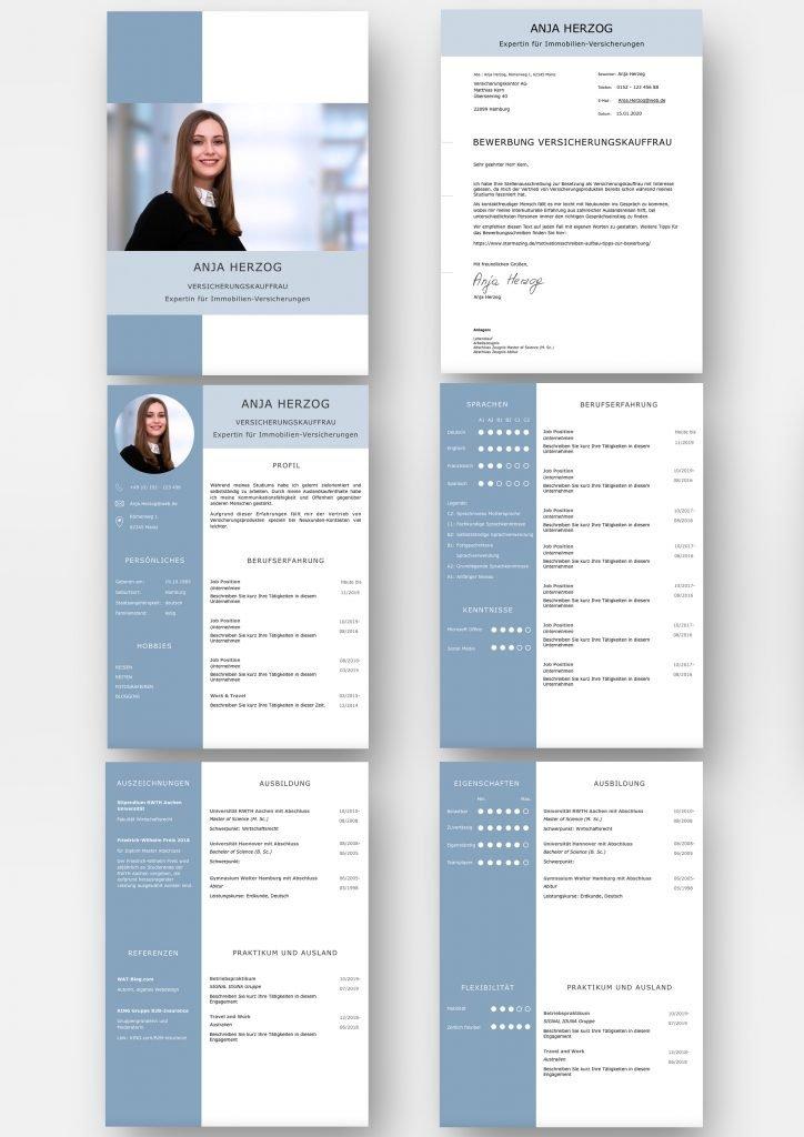 Diese Bewerbungsvorlage ist in jeder Hinsicht gelungen. Hier lassen sich eindrucksvoll im aufgeräumtem Lebenslauf-Design Bewerbungsfoto, Bewerbungsanschreiben, Berufserfahrung, Ausbildung, Praktikum, Auslandserfahrung, Persönlichkeit, Stärken bis hin zu Hobbies grafisch und modern präsentieren. Mit Download für Word und Mac Pages.
