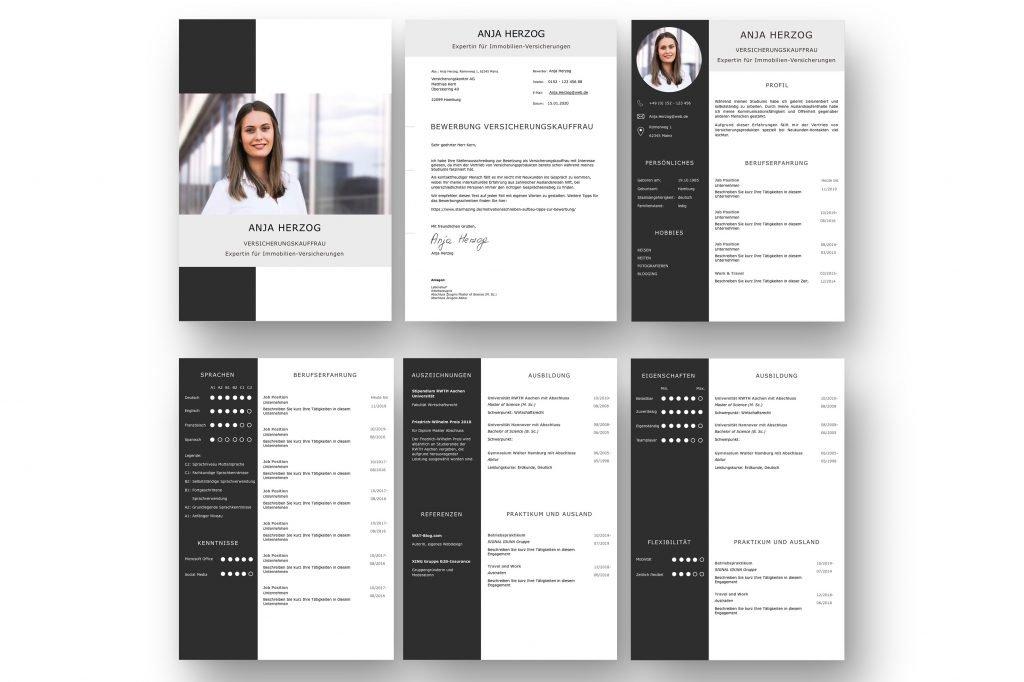 CV Komplett-Set in Carbon Farben: Eine perfekte Lebenslaufvorlage für viel Berufserfahrung. Highlights: + 6 Seiten + unterstützt Europäischen Referenzrahmen für Sprachen (GER) + STARMAZING®-Easy-Edit-Architektur (spart viel Zeit beim Bearbeiten mit Word) + Eindrucksvolle Farben optimiert für Export als PDF und für Ausdrucke + Als deutsche Bewerbungsvorlage, EU und Schweizer Lebenslauf einsetzbar. Download für Windows Word und MacOS Pages.