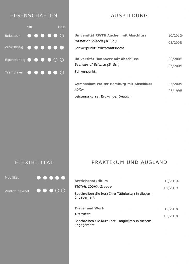 Perfektes CV Layout Design in sehr eleganter und moderner Farbabstimmung: So gewinnt ein Personaler sofort einen positiven Eindruck: Lebenslauf, Ausbildung, Auslandserfahrung, Bewerbungsanschreiben, Praktikum, Sprachen, Charaktereigenschaften, Referenzen, Auszeichnungen auf einen Blick perfekt dargestellt. Das Anschreiben nach DIN 5008 Norm ein Beweis, dass der Bewerber Geschäftskorrespondenz bis ins letzte Detail beherrscht.