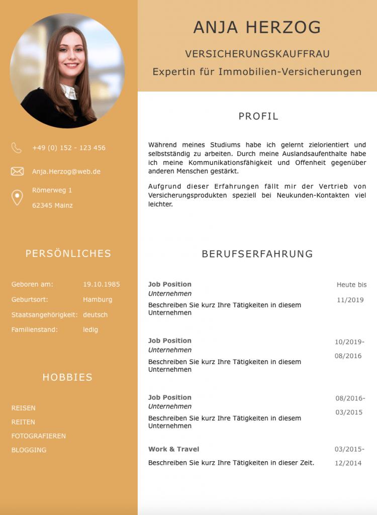 Alles richtig gemacht: Dieses aufgeräumte Lebenslauf CV Design hilft jedem Personaler sehr schnell einen perfekten Eindruck vom Bewerber zu bekommen. Bewerber-Profil, Berufserfahrung, Kontaktdaten, Angaben zur Person und Hobbies sind ideal aufgeteilt und schnell zu erfassen.