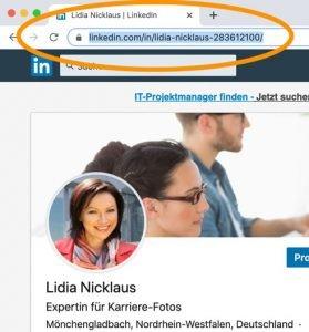 Der LinkedIn Link zu Ihrem Profil wird an dieser Stelle im Webbrowser angezeigt. Kopieren Sie diesen, um Personaler direkt aus Ihren Bewerbungsunterlagen heraus auf Ihr LinkedIn Profil zu leiten.