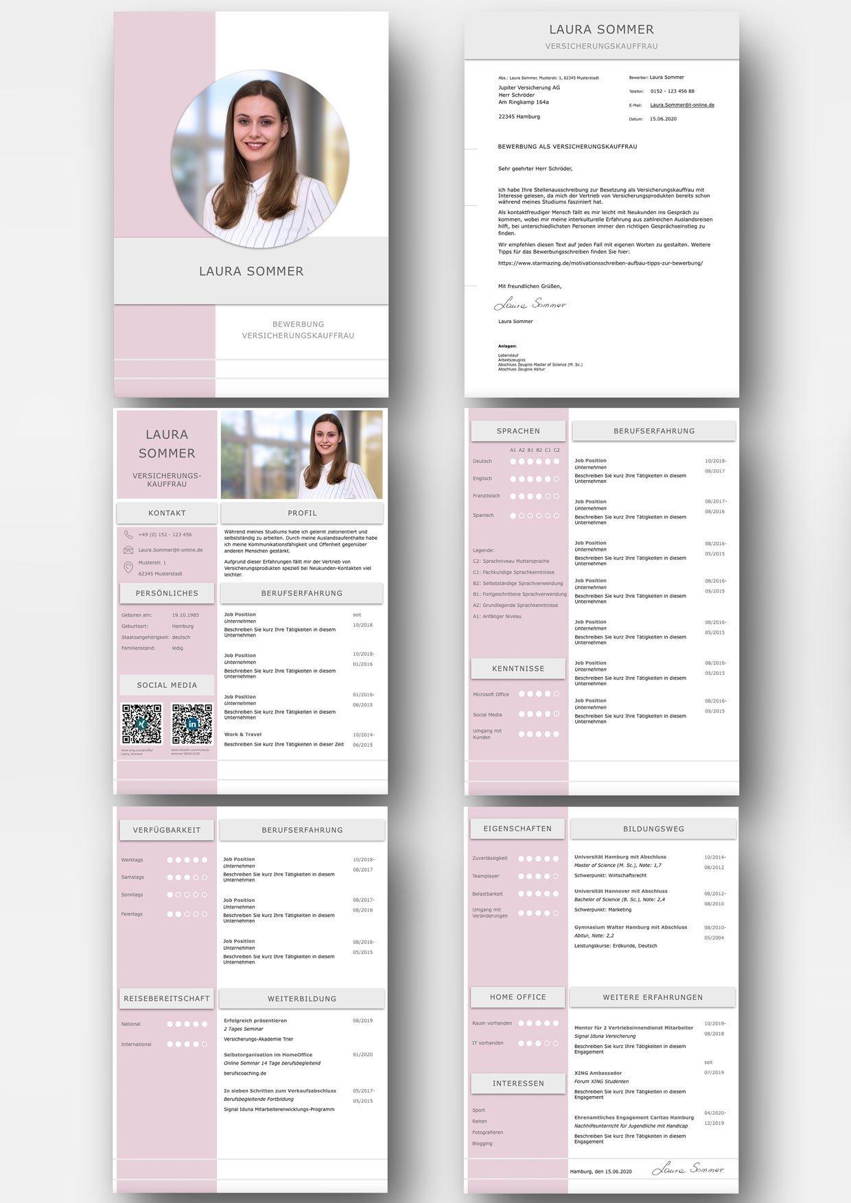 Bewerbung in moderner Lavendel Farbabstimmung. Diese Bewerbungsvorlage ist modern strukturiert und signalisiert: Wer sich so präsentiert, verkauft auch sein künftiges Unternehmen erstklassig. Das sehen Personaler sofort. 5 Seiten als Download für Word und Pages. Enthält ein Deckblatt, Bewerbungsanschreiben, Lebenslauf mit Profil, CV Folgeseite, Ausbildung + weitere Erfahrung. Optimiert für Ausdruck und PDF-Export.