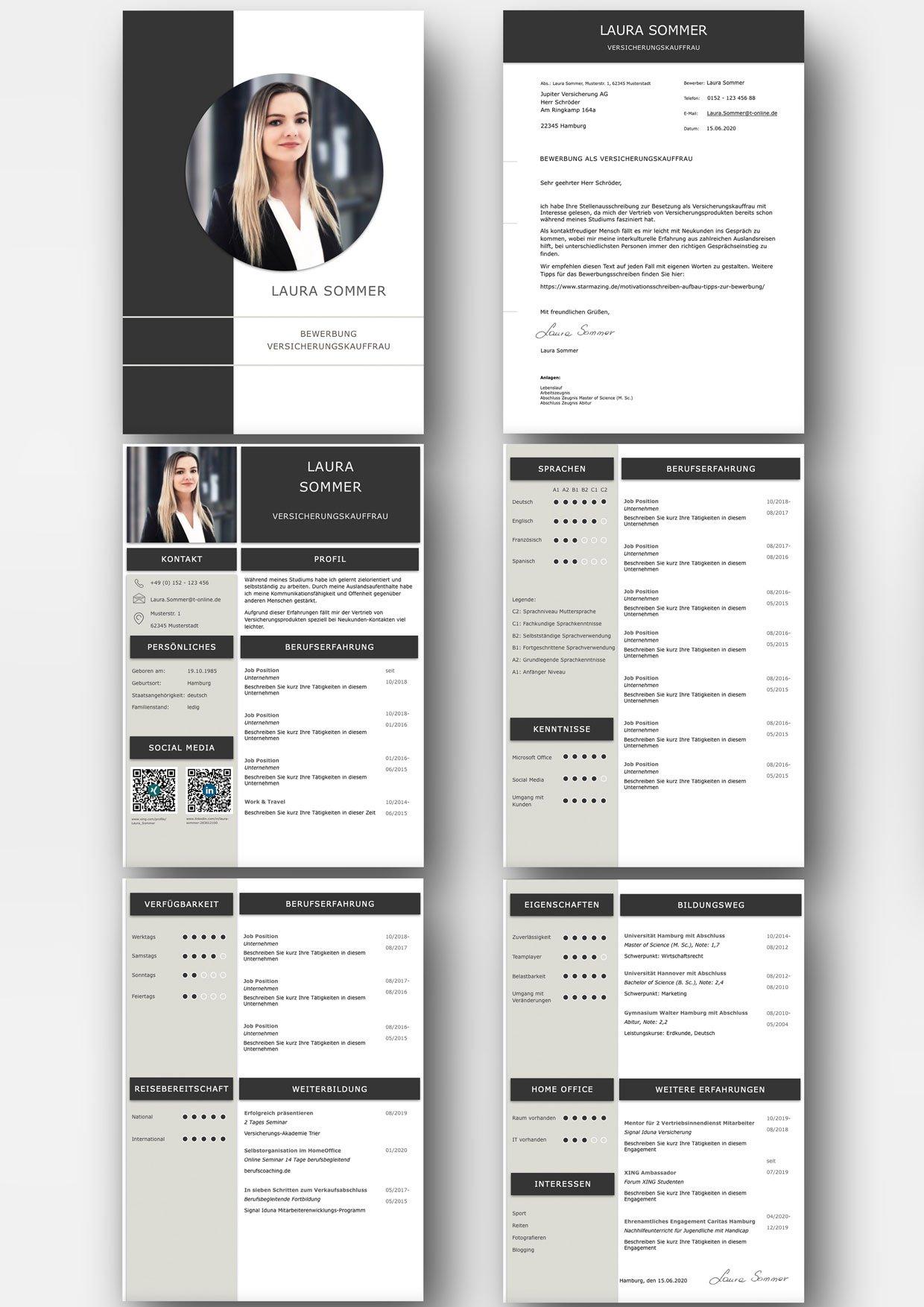 Diese Bewerbungsvorlage ist modern strukturiert und signalisiert: Wer sich so präsentiert, verkauft auch sein künftiges Unternehmen erstklassig. Das sehen Personaler sofort. 4 Seiten als Download für Word und Pages. Enthält ein Deckblatt, Bewerbungsanschreiben, Lebenslauf mit Profil, CV Folgeseite, Ausbildung + weitere Erfahrung. Optimiert für Ausdruck und PDF-Export.