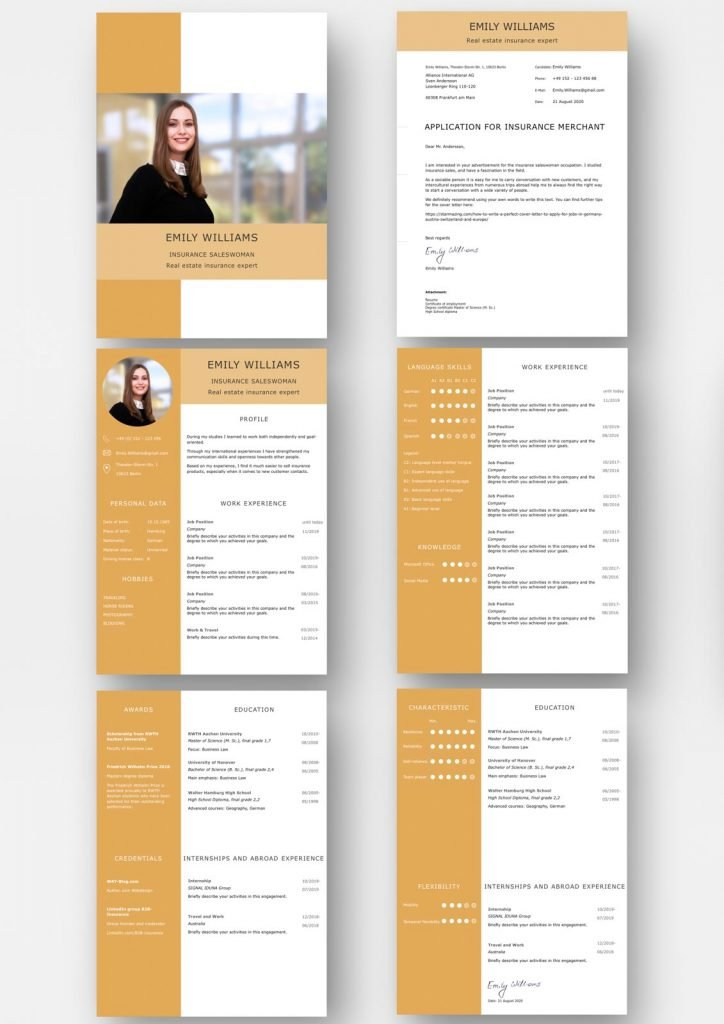 Perfect application template in English to apply for jobs in Germany, Switzerland, Austria and Europe. With modern cover letter, CV, education, work experience, awards, internships, language skills, characteristic and flexibility. Easy to edit. Instant download for Word and Pages.