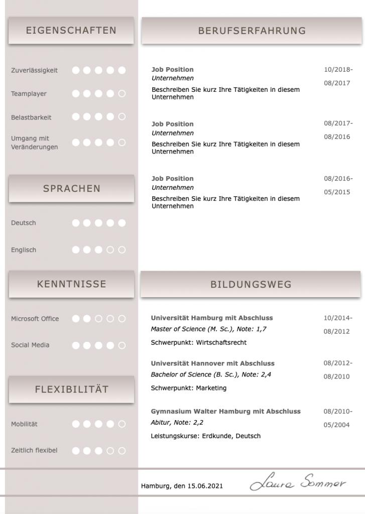 Perfekte und moderne Design Bewerbungsvorlage von STARMAZING: Seite 1: Bewerbungsdeckblatt Seite 2: Bewerbungsanschreiben Seite 3: CV Lebenslauf mit Profil Seite 4: CV Lebenslauf Folgeseite Seite 5: Flexible Zusatzseite / Weiterbildung Seite 6: Bildungsweg Seite 7: CV Kompakt Seite Homeoffice Möglichkeit, Reisebereitschaft, Persönlichkeitsdarstellung, Kenntnisse und zeitliche Verfügbarkeit werden eindrucksvoll grafisch präsentiert. Mit Social Media QR Codes. Alle Schriften ohne Installation dabei. Download: www.STARMAZING.de/bewerber-shop