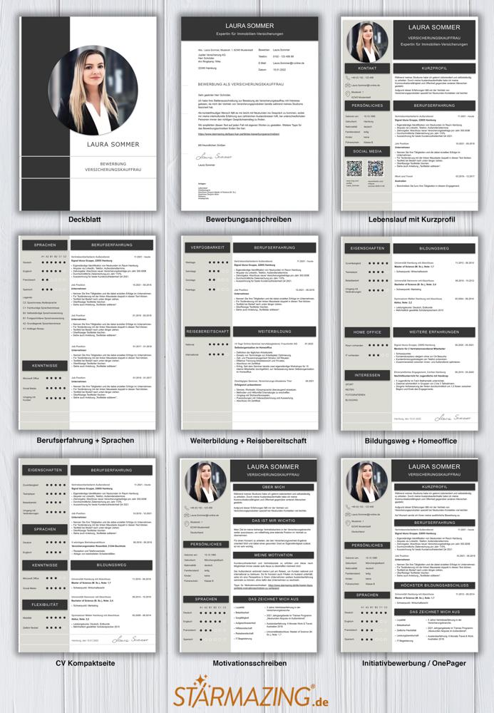 Die perfekte Bewerbung: Modernes Design. Aufgeräumtes Layout. Grafisch vorteilhaft gestaltet. Hier wurde alles richtig gemacht. So sieht eine perfekte Bewerbungsvorlage aus: Seite 1: Bewerbungsdeckblatt Seite 2: Bewerbungsanschreiben Seite 3: CV Lebenslauf mit Profil Seite 4: CV Lebenslauf Folgeseite Seite 5: Flexible Zusatzseite / Weiterbildung Seite 6: Bildungsweg Seite 7: CV Kompakt Seite Seite 8: Motivationsschreiben Seite 9: Initiativbewerbung / OnePager Homeoffice Möglichkeit, Reisebereitschaft, Persönlichkeitsdarstellung, Kenntnisse und zeitliche Verfügbarkeit werden eindrucksvoll grafisch präsentiert. Mit Social Media QR Codes. Alle Schriften ohne Installation dabei. Download: www.STARMAZING.de/bewerber-shop